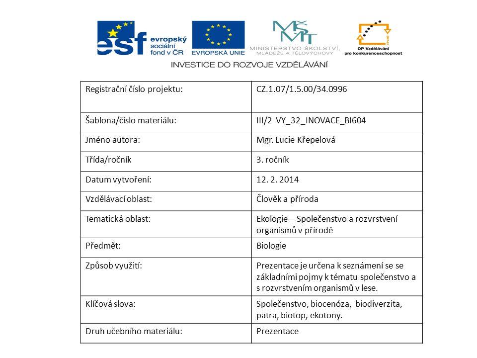 Registrační číslo projektu:CZ.1.07/1.5.00/34.0996 Šablona/číslo materiálu:III/2 VY_32_INOVACE_BI604 Jméno autora:Mgr. Lucie Křepelová Třída/ročník3. r