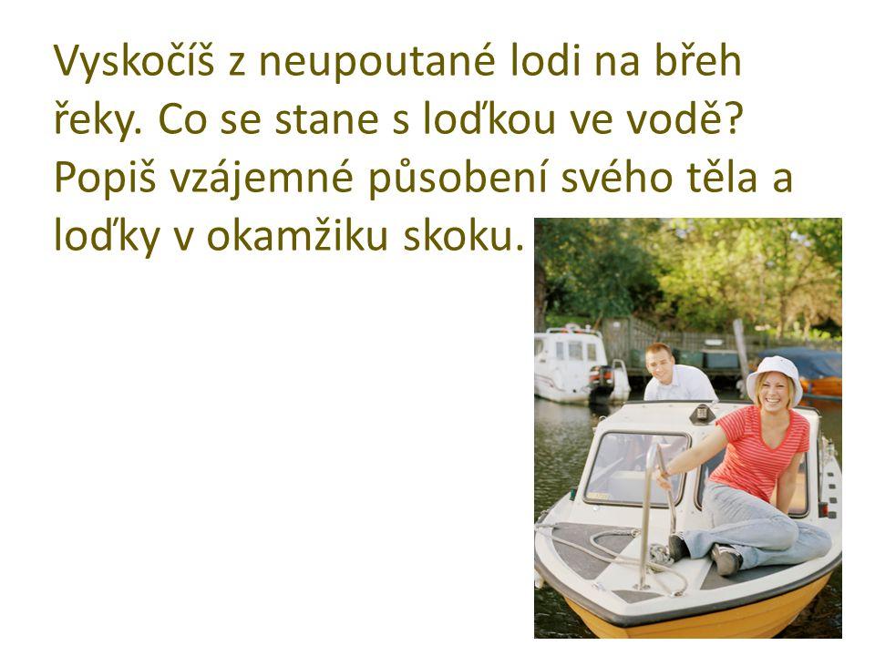Vyskočíš z neupoutané lodi na břeh řeky. Co se stane s loďkou ve vodě.