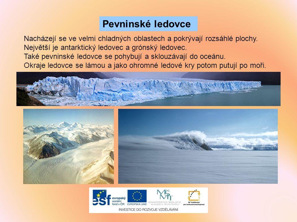 Nacházejí se ve velmi chladných oblastech a pokrývají rozsáhlé plochy. Největší je antarktický ledovec a grónský ledovec. Také pevninské ledovce se po