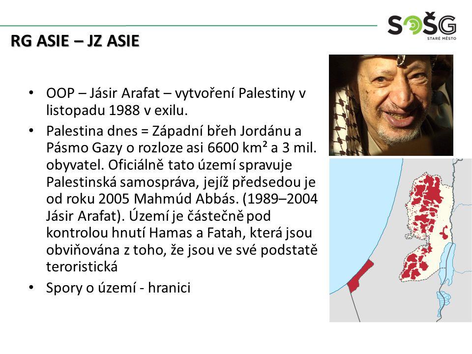 OOP – Jásir Arafat – vytvoření Palestiny v listopadu 1988 v exilu.