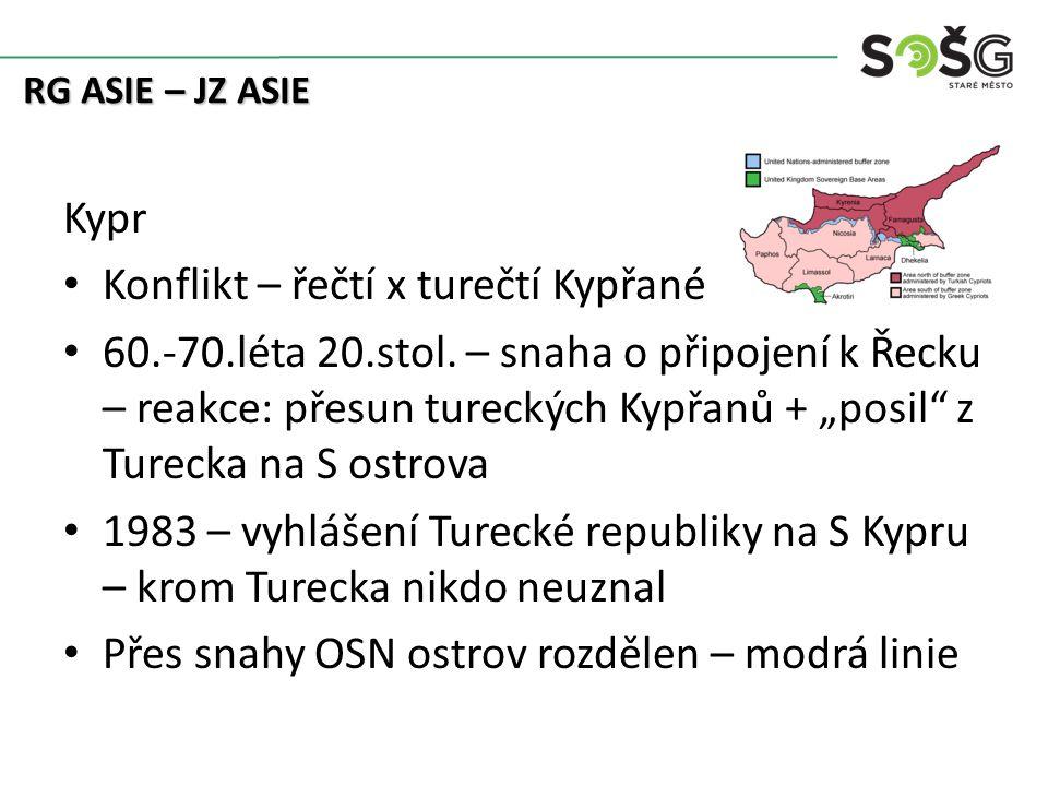 Kypr Konflikt – řečtí x turečtí Kypřané 60.-70.léta 20.stol.
