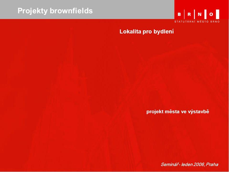 Seminář - leden 2006, Praha Projekty brownfields Lokalita pro bydlení projekt města ve výstavbě