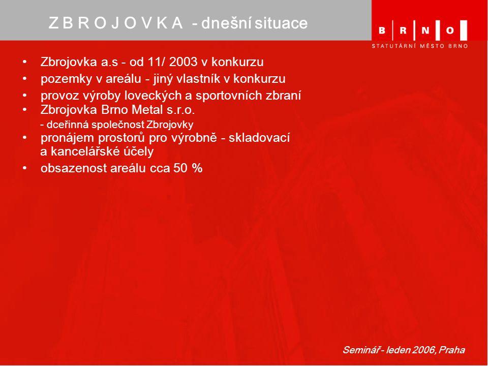 Seminář - leden 2006, Praha Z B R O J O V K A - dnešní situace Zbrojovka a.s - od 11/ 2003 v konkurzu pozemky v areálu - jiný vlastník v konkurzu prov