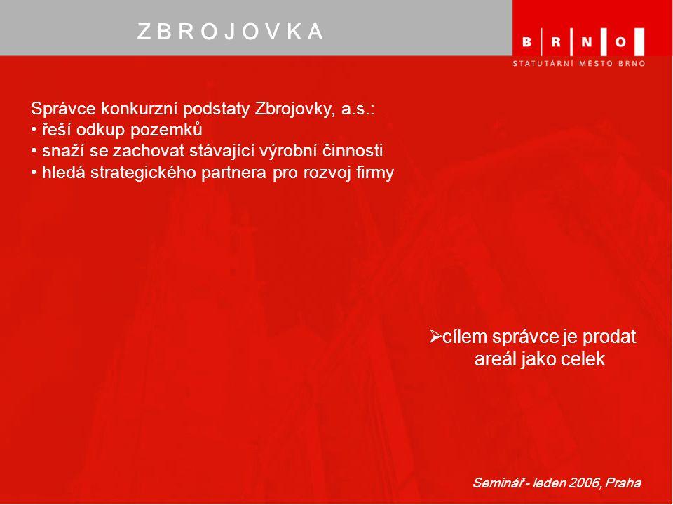 Seminář - leden 2006, Praha Z B R O J O V K A Správce konkurzní podstaty Zbrojovky, a.s.: řeší odkup pozemků snaží se zachovat stávající výrobní činno