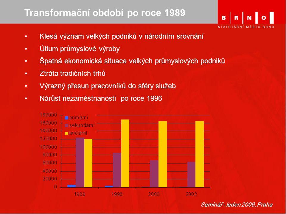 Seminář - leden 2006, Praha Transformační období po roce 1989 Klesá význam velkých podniků v národním srovnání Útlum průmyslové výroby Špatná ekonomic
