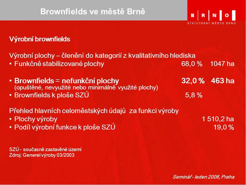 Seminář - leden 2006, Praha Brownfields ve městě Brně Výrobní brownfields Výrobní plochy – členění do kategorií z kvalitativního hlediska Funkčně stab