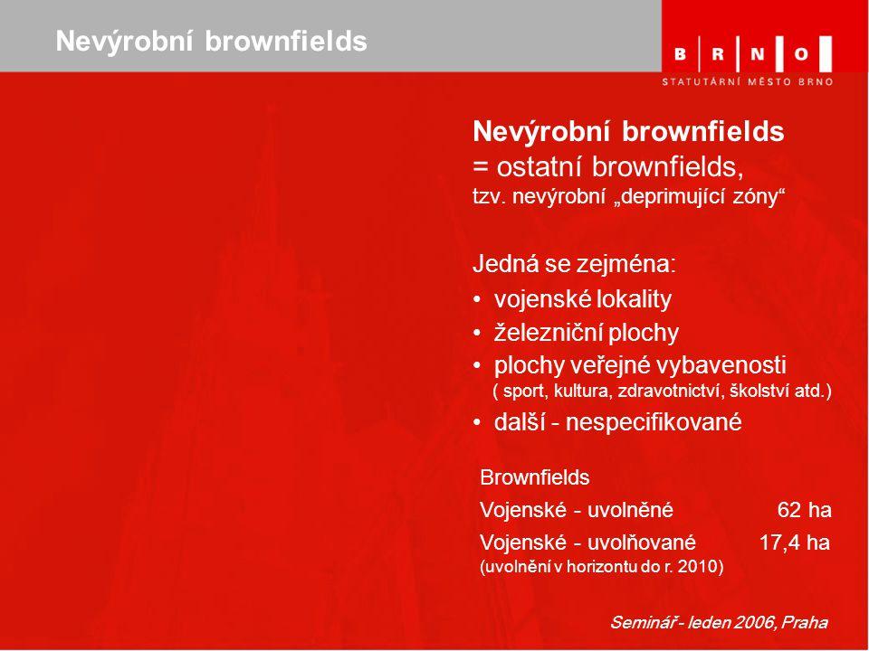"""Seminář - leden 2006, Praha Nevýrobní brownfields = ostatní brownfields, tzv. nevýrobní """"deprimující zóny"""" Jedná se zejména: vojenské lokality železni"""