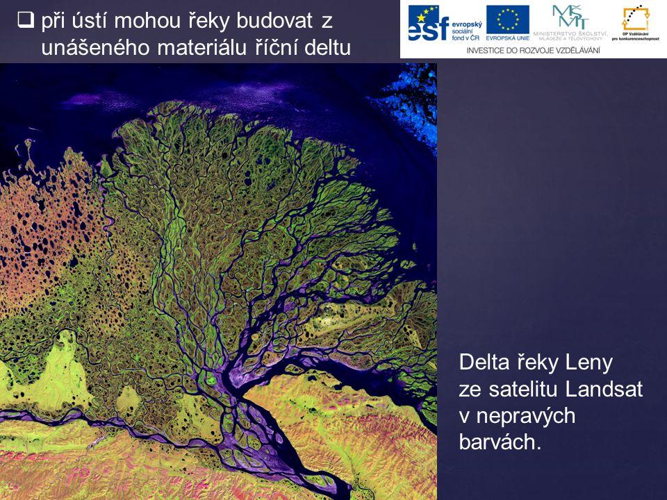  při ústí mohou řeky budovat z unášeného materiálu říční deltu Delta řeky Leny ze satelitu Landsat v nepravých barvách.