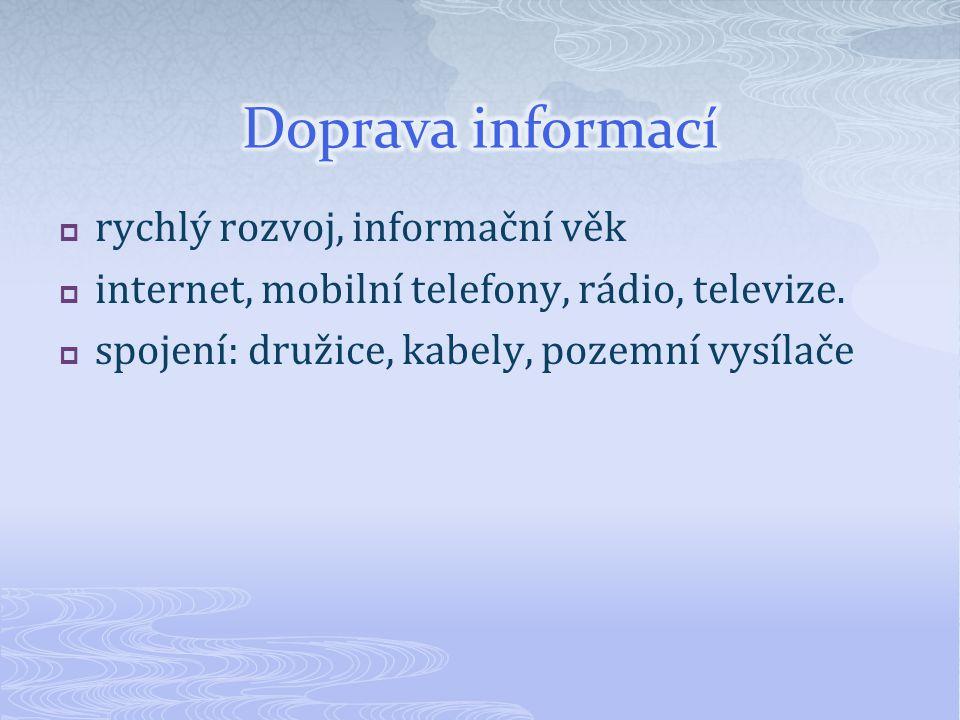  rychlý rozvoj, informační věk  internet, mobilní telefony, rádio, televize.  spojení: družice, kabely, pozemní vysílače