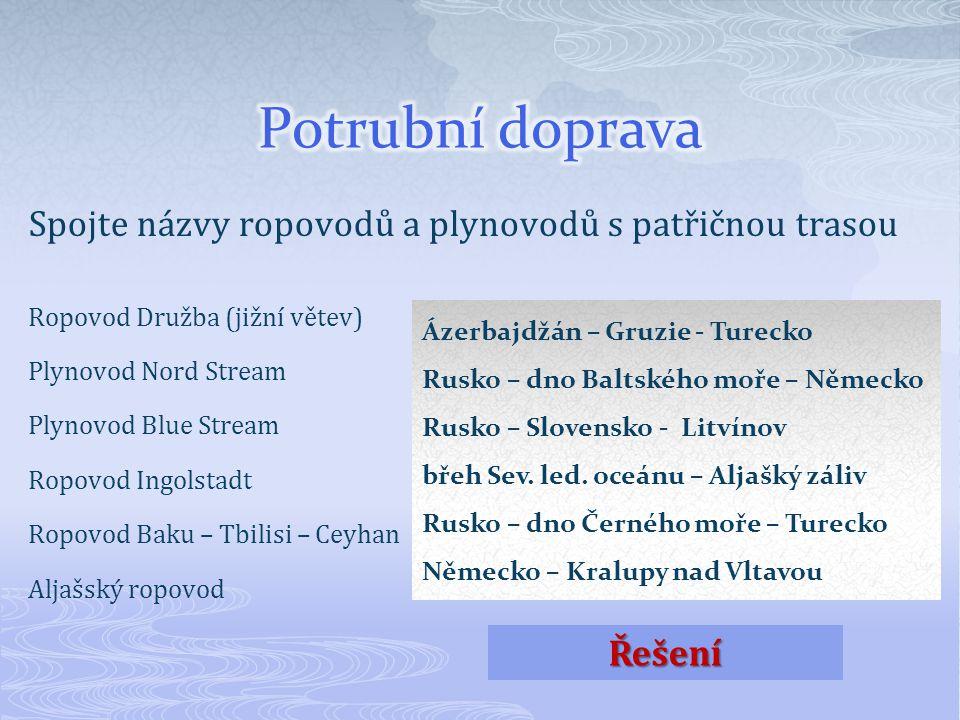 Spojte názvy ropovodů a plynovodů s patřičnou trasou Ropovod Družba (jižní větev) Plynovod Nord Stream Plynovod Blue Stream Ropovod Ingolstadt Ropovod