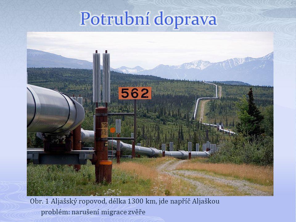 Obr. 1 Aljašský ropovod, délka 1300 km, jde napříč Aljaškou problém: narušení migrace zvěře
