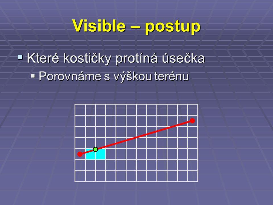 Visible – postup  Které kostičky protíná úsečka  Porovnáme s výškou terénu