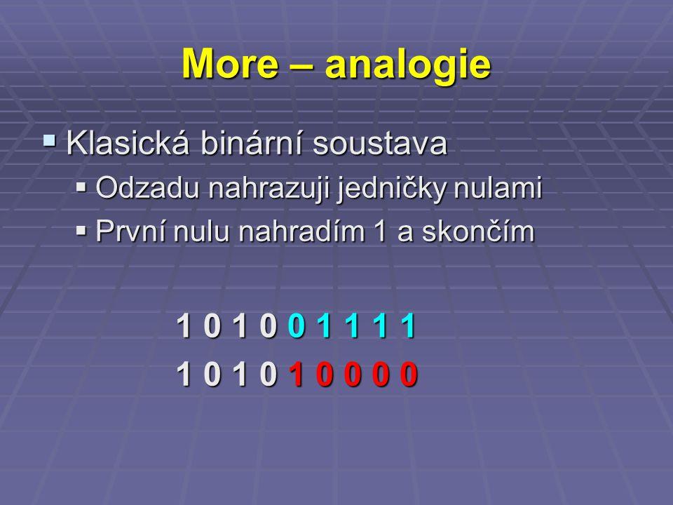 More – analogie  Klasická binární soustava  Odzadu nahrazuji jedničky nulami  První nulu nahradím 1 a skončím 1 0 1 0 0 1 1 1 1 1 0 1 0 1 0 0 0 0