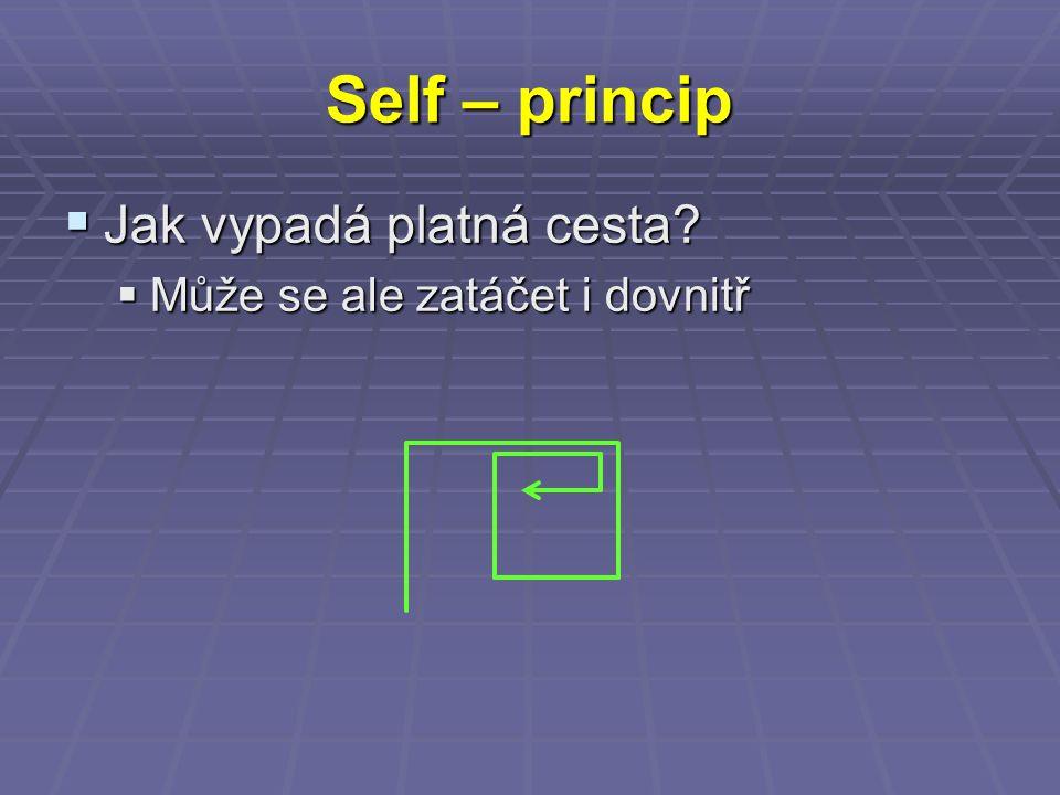 Self – princip  Jak vypadá platná cesta?  Může se ale zatáčet i dovnitř