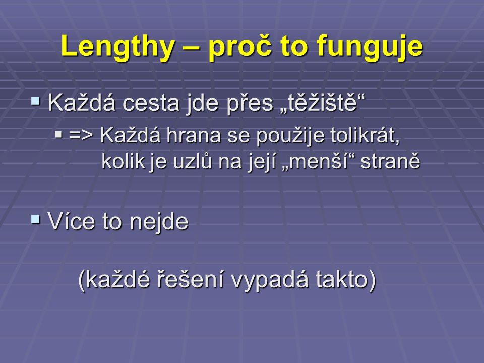 """Lengthy – proč to funguje  Každá cesta jde přes """"těžiště""""  => Každá hrana se použije tolikrát, kolik je uzlů na její """"menší"""" straně  Více to nejde"""