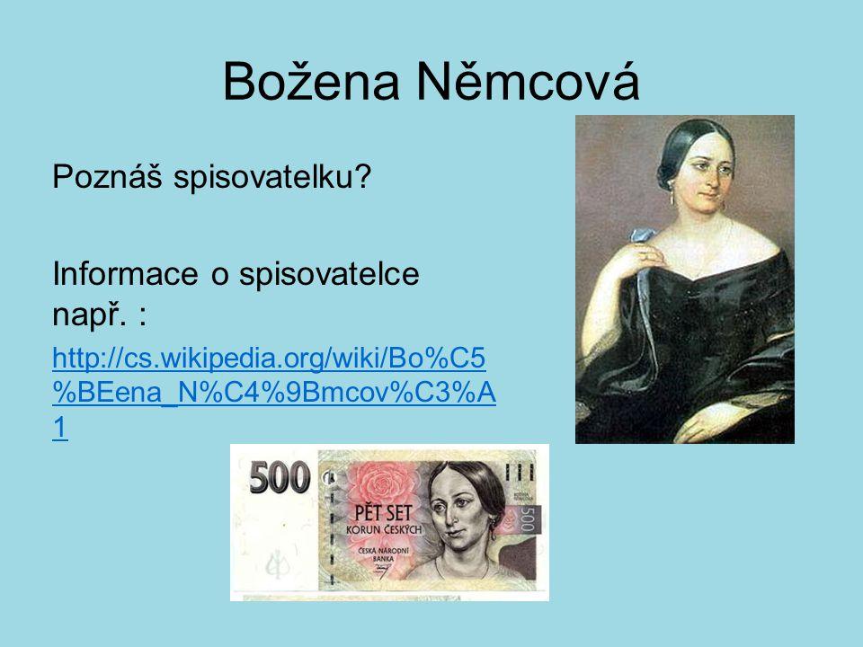 Božena Němcová Poznáš spisovatelku? Informace o spisovatelce např. : http://cs.wikipedia.org/wiki/Bo%C5 %BEena_N%C4%9Bmcov%C3%A 1