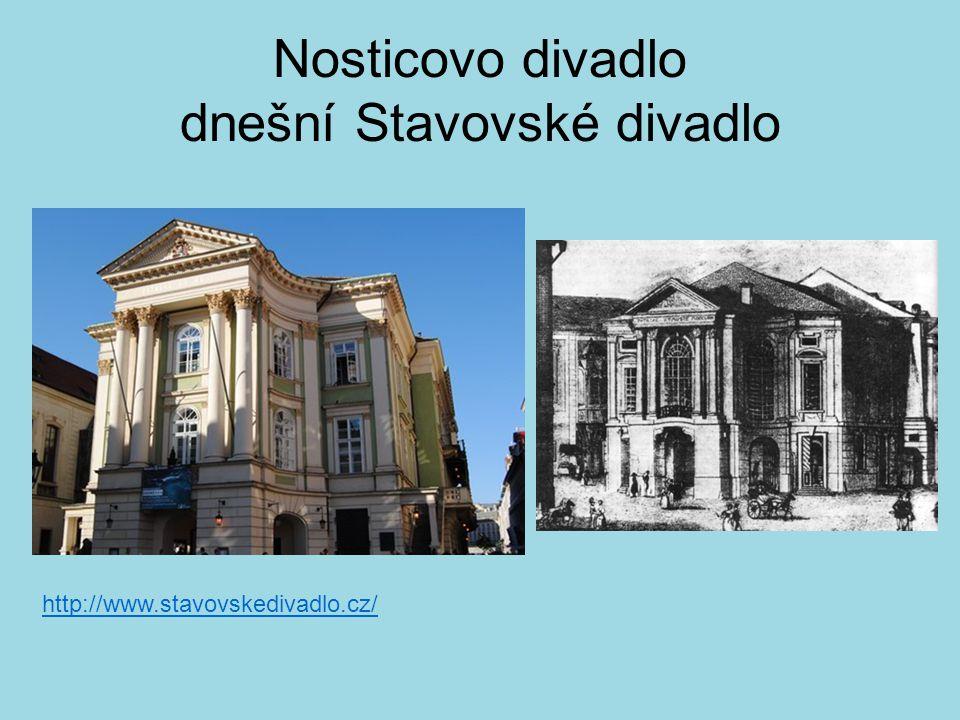 Nosticovo divadlo dnešní Stavovské divadlo http://www.stavovskedivadlo.cz/