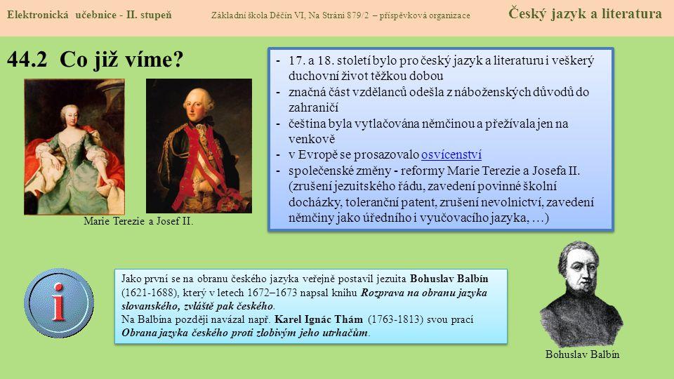 44.2 Co již víme? Elektronická učebnice - II. stupeň Základní škola Děčín VI, Na Stráni 879/2 – příspěvková organizace Český jazyk a literatura -17. a