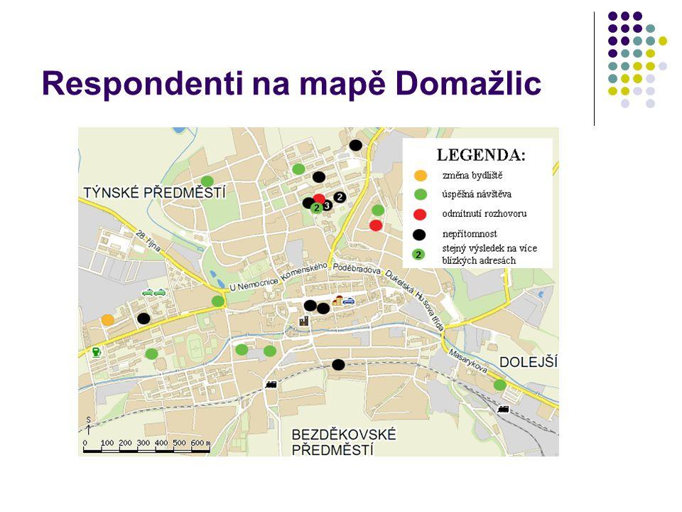 Respondenti na mapě Domažlic