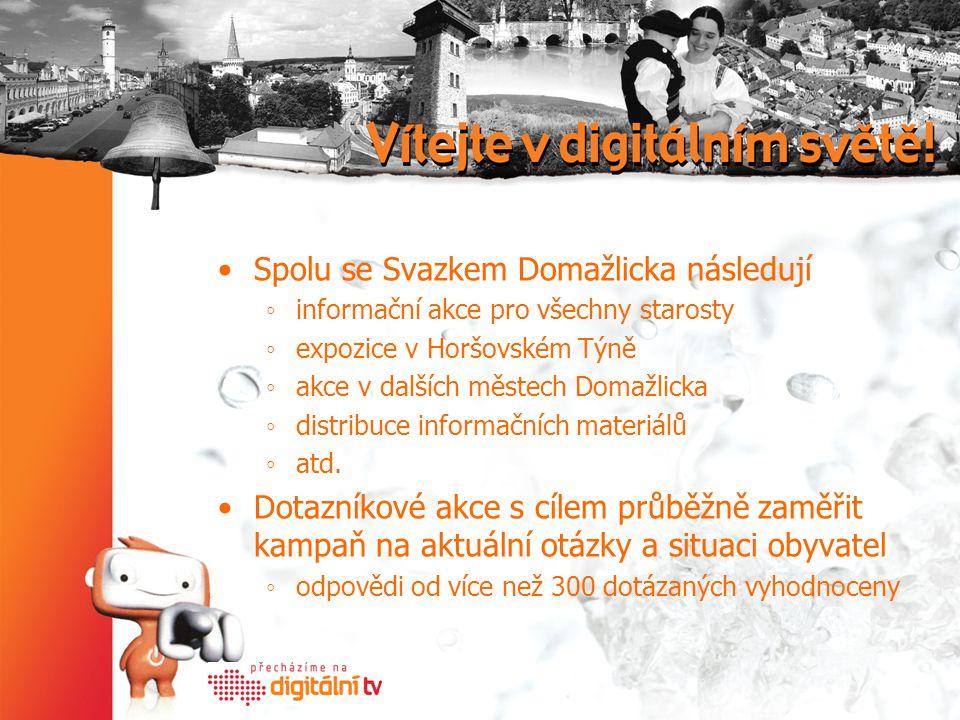 Spolu se Svazkem Domažlicka následují ◦informační akce pro všechny starosty ◦expozice v Horšovském Týně ◦akce v dalších městech Domažlicka ◦distribuce informačních materiálů ◦atd.