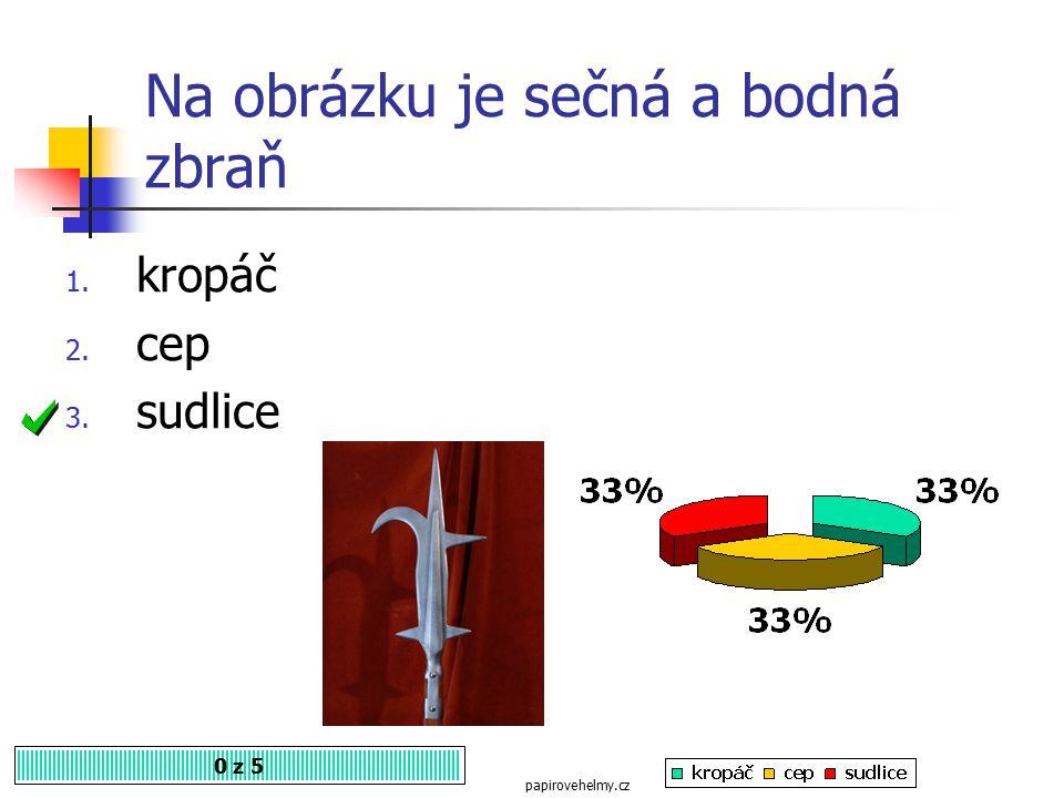 Na obrázku je středověká zbraň, proslavená zejména husity. 0 z 5 1. řemdih 2. šídlo 3. sudlice http://cs.wikipedia.org/wiki/Husitsk%C3%A9_zbran%C4%9B