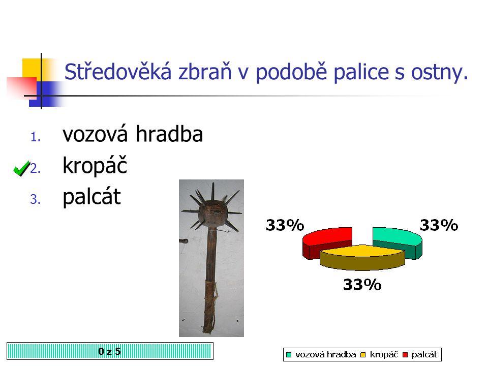 Husitská zbraň s protáhlou špicí na dřevěné násadě (č. 6) 0 z 5 1. palcát 2. šídlo 3. halapartna history-if.blog.cz