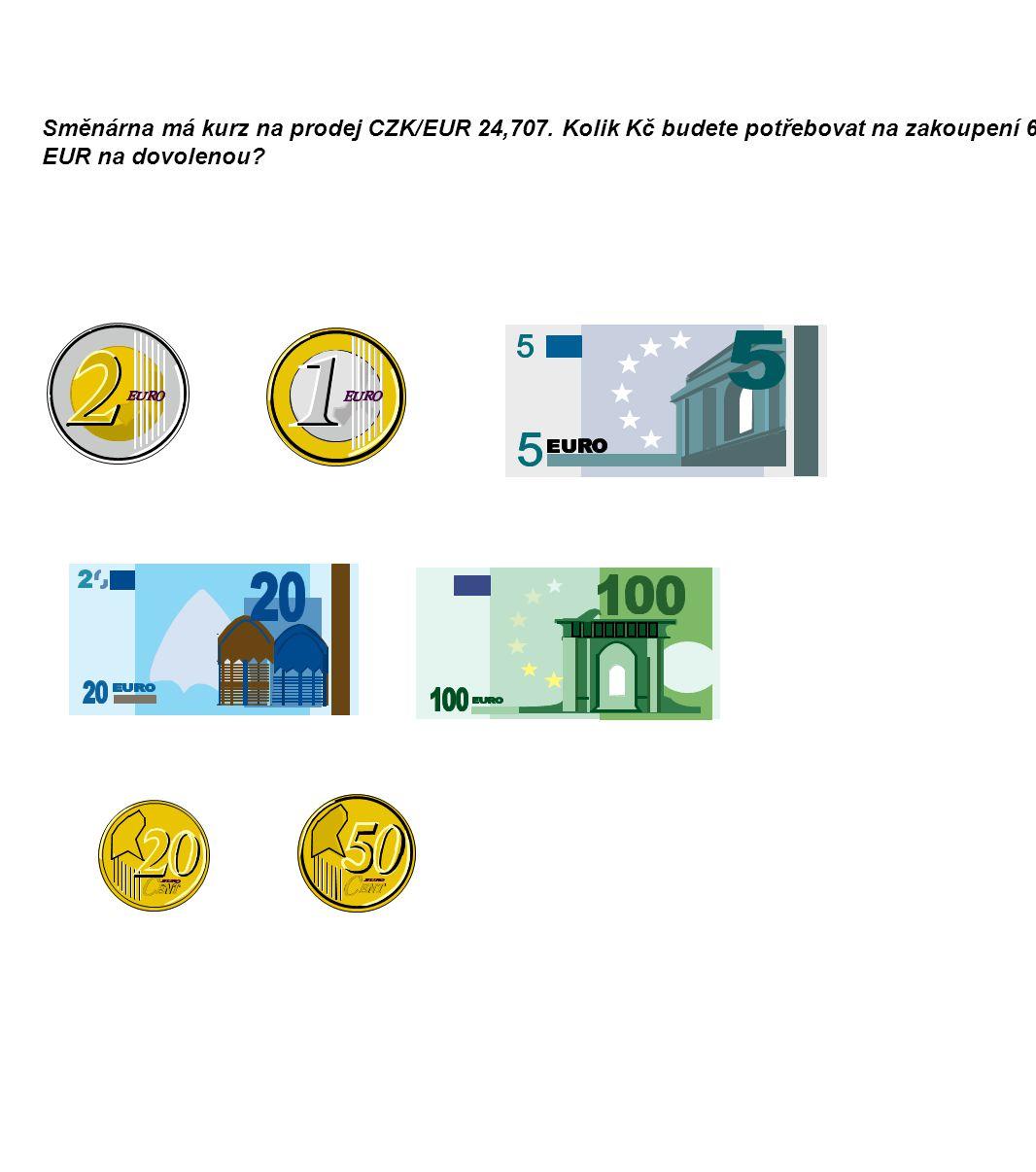 Směnárna má kurz na prodej CZK/EUR 24,707.