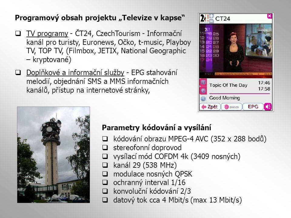 """Programový obsah projektu """"Televize v kapse""""  TV programy - ČT24, CzechTourism - Informační kanál pro turisty, Euronews, Očko, t-music, Playboy TV, T"""