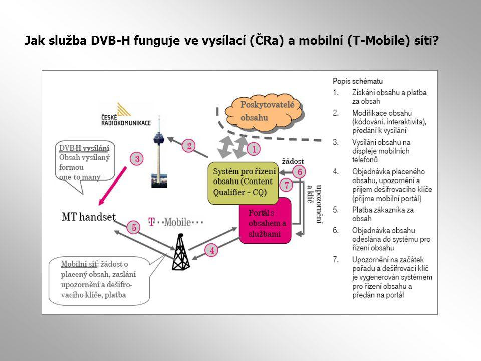 Jak služba DVB-H funguje ve vysílací (ČRa) a mobilní (T-Mobile) síti?