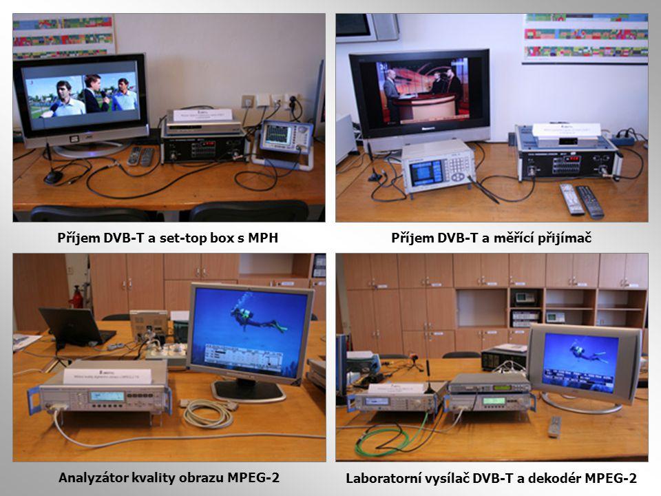 Příjem DVB-T a set-top box s MPHPříjem DVB-T a měřící přijímač Laboratorní vysílač DVB-T a dekodér MPEG-2 Analyzátor kvality obrazu MPEG-2