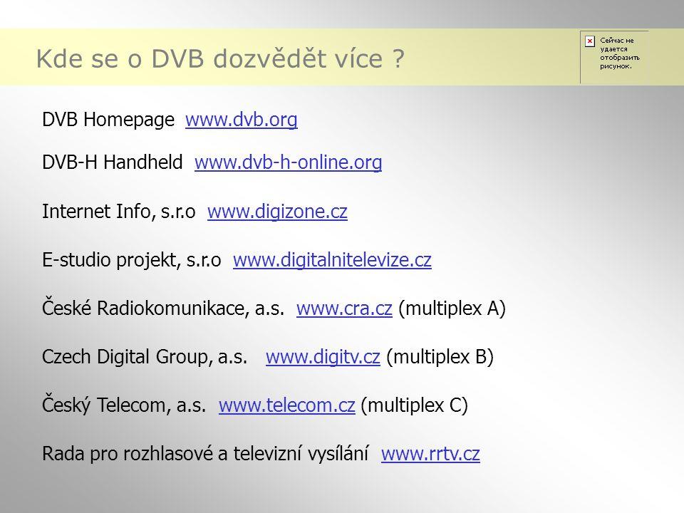 Kde se o DVB dozvědět více ? DVB Homepage www.dvb.org DVB-H Handheld www.dvb-h-online.org Internet Info, s.r.o www.digizone.cz E-studio projekt, s.r.o