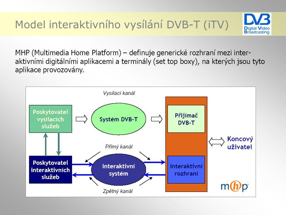 Model interaktivního vysílání DVB-T (iTV) MHP (Multimedia Home Platform) – definuje generické rozhraní mezi inter- aktivními digitálními aplikacemi a