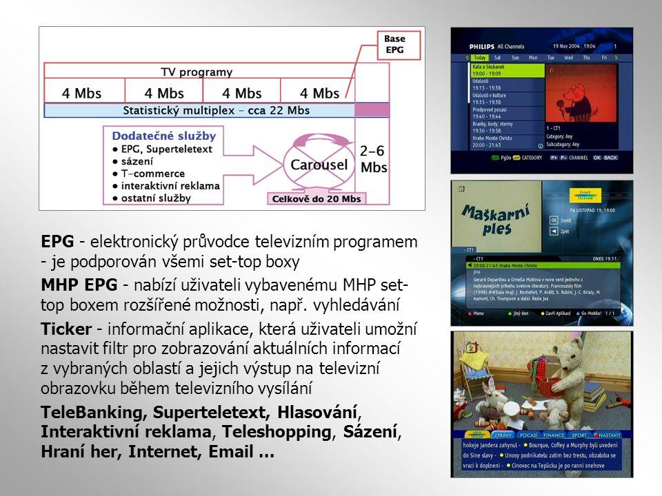  Profil MHP 1 - pasivní zdroj informací se selektivním výběrem (superteletext, zpravodajský ticker, HTML stránky)  Profil MHP 2 – nutné použití zpětného kanálu pro odezvu diváka (hlasování, kvízy a testy, hry, sázky, e-shopping)  Profil MHP 3 - úplná interaktivita včetně individuálního stahování dalších dat po zpětném kanálu (e-mail, webbrowsing).