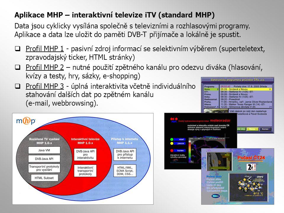  Profil MHP 1 - pasivní zdroj informací se selektivním výběrem (superteletext, zpravodajský ticker, HTML stránky)  Profil MHP 2 – nutné použití zpět