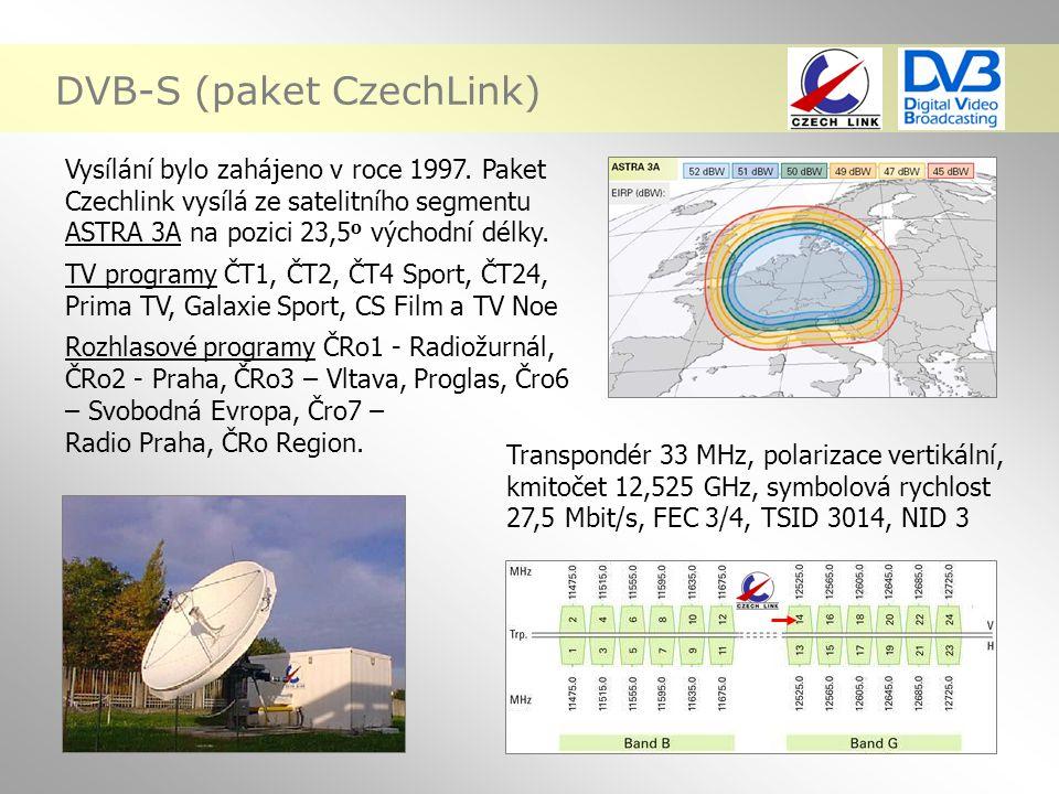 DVB-S (paket CzechLink) Vysílání bylo zahájeno v roce 1997. Paket Czechlink vysílá ze satelitního segmentu ASTRA 3A na pozici 23,5 o východní délky. T