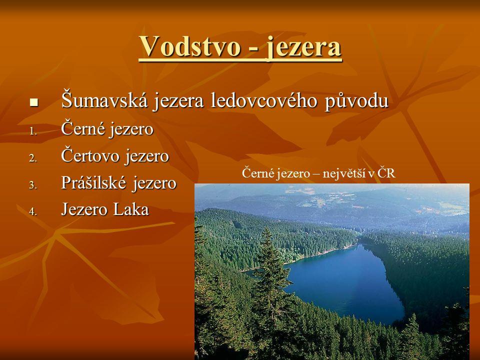 Vodstvo - jezera Šumavská jezera ledovcového původu Šumavská jezera ledovcového původu 1. Černé jezero 2. Čertovo jezero 3. Prášilské jezero 4. Jezero