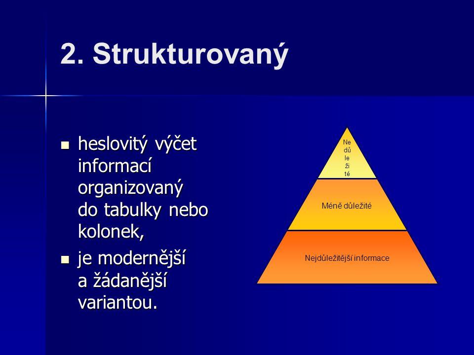 2. Strukturovaný heslovitý výčet informací organizovaný do tabulky nebo kolonek, heslovitý výčet informací organizovaný do tabulky nebo kolonek, j e m