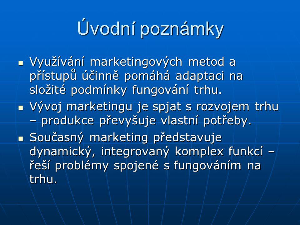Úvodní poznámky Využívání marketingových metod a přístupů účinně pomáhá adaptaci na složité podmínky fungování trhu. Využívání marketingových metod a