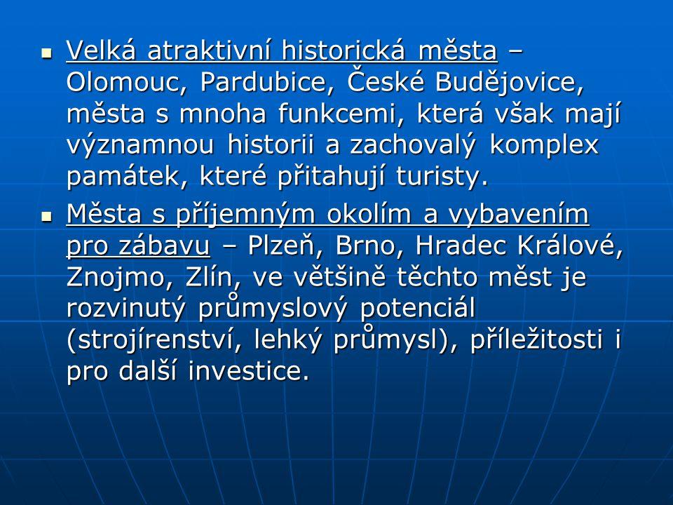 Velká atraktivní historická města – Olomouc, Pardubice, České Budějovice, města s mnoha funkcemi, která však mají významnou historii a zachovalý kompl