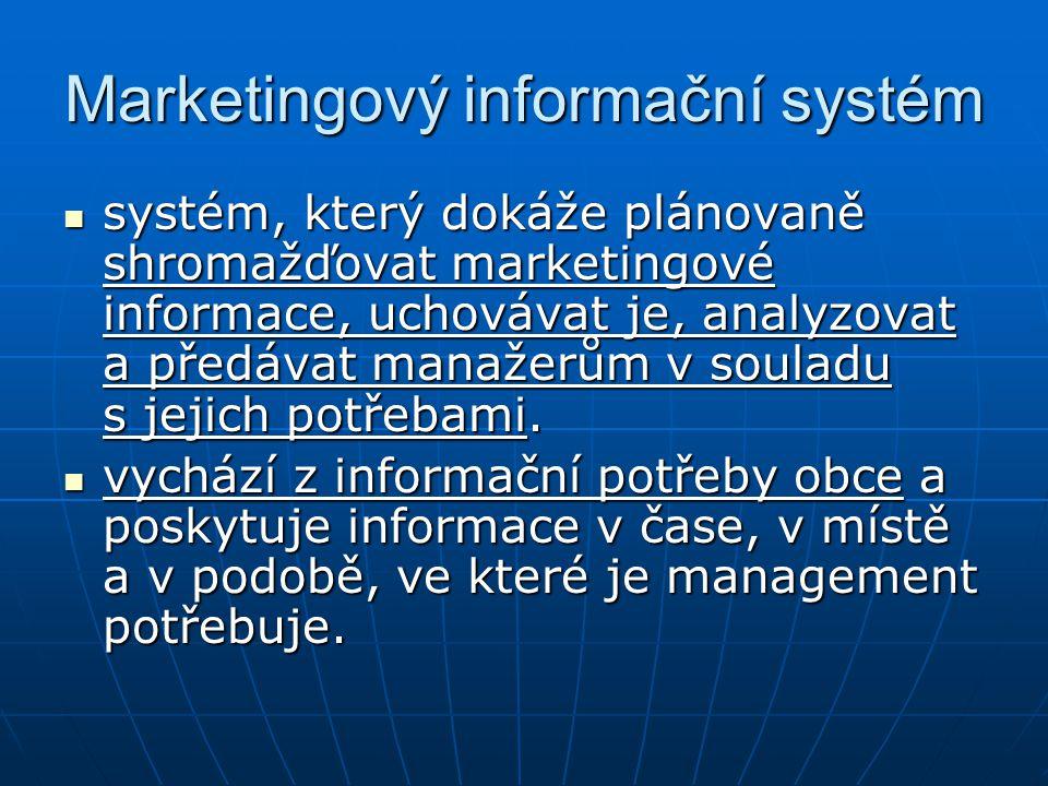 Marketingový informační systém systém, který dokáže plánovaně shromažďovat marketingové informace, uchovávat je, analyzovat a předávat manažerům v sou