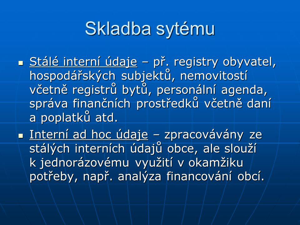 Skladba sytému Stálé interní údaje – př. registry obyvatel, hospodářských subjektů, nemovitostí včetně registrů bytů, personální agenda, správa finanč
