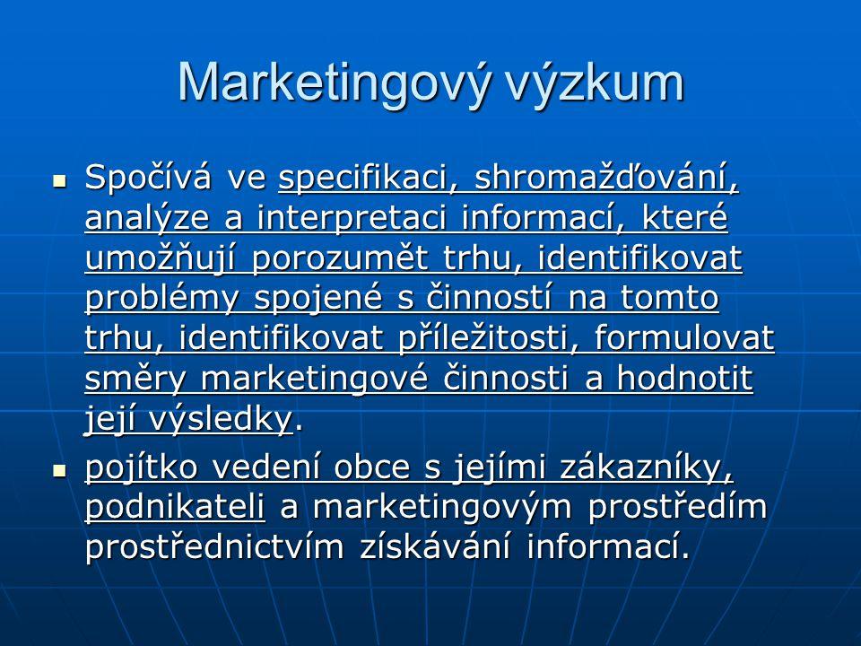 Marketingový výzkum Spočívá ve specifikaci, shromažďování, analýze a interpretaci informací, které umožňují porozumět trhu, identifikovat problémy spo