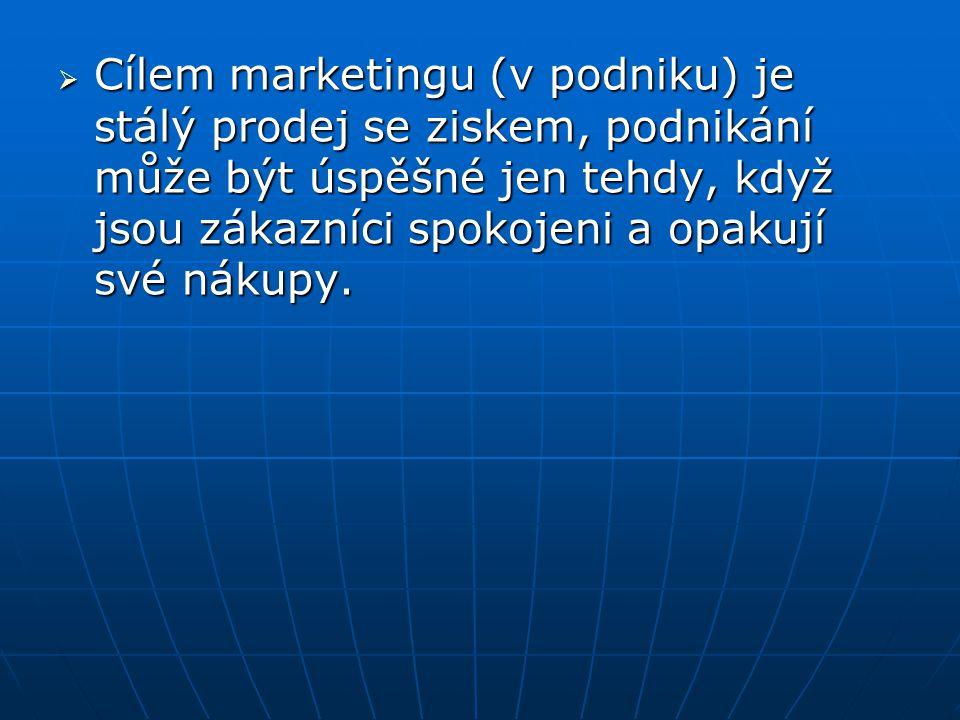  Cílem marketingu (v podniku) je stálý prodej se ziskem, podnikání může být úspěšné jen tehdy, když jsou zákazníci spokojeni a opakují své nákupy.