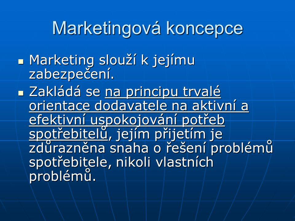Marketingová koncepce Marketing slouží k jejímu zabezpečení. Marketing slouží k jejímu zabezpečení. Zakládá se na principu trvalé orientace dodavatele