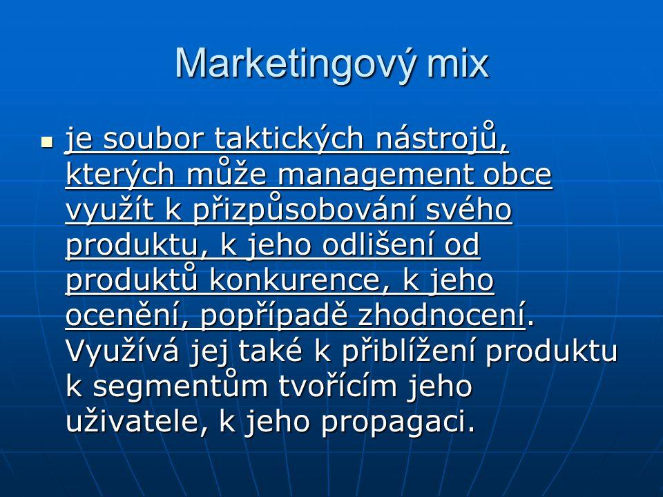 Marketingový mix je soubor taktických nástrojů, kterých může management obce využít k přizpůsobování svého produktu, k jeho odlišení od produktů konku