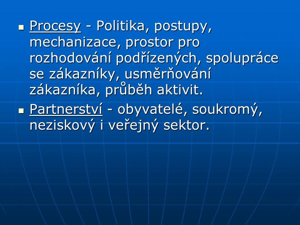 Procesy - Politika, postupy, mechanizace, prostor pro rozhodování podřízených, spolupráce se zákazníky, usměrňování zákazníka, průběh aktivit. Procesy