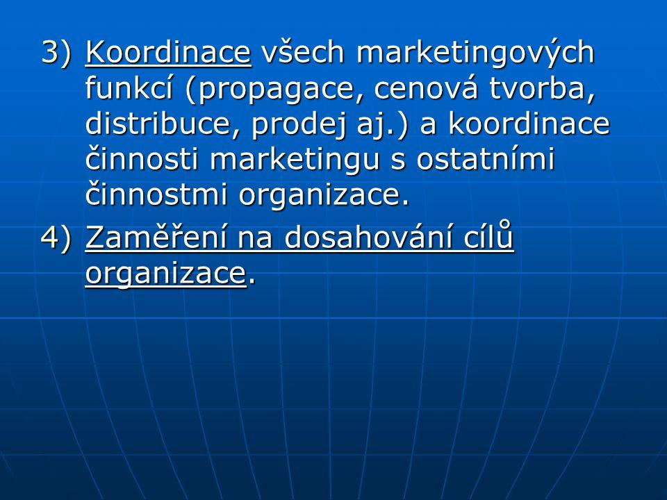 3)Koordinace všech marketingových funkcí (propagace, cenová tvorba, distribuce, prodej aj.) a koordinace činnosti marketingu s ostatními činnostmi org