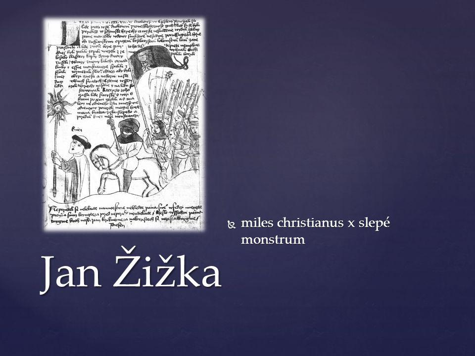 Jan Žižka  miles christianus x slepé monstrum