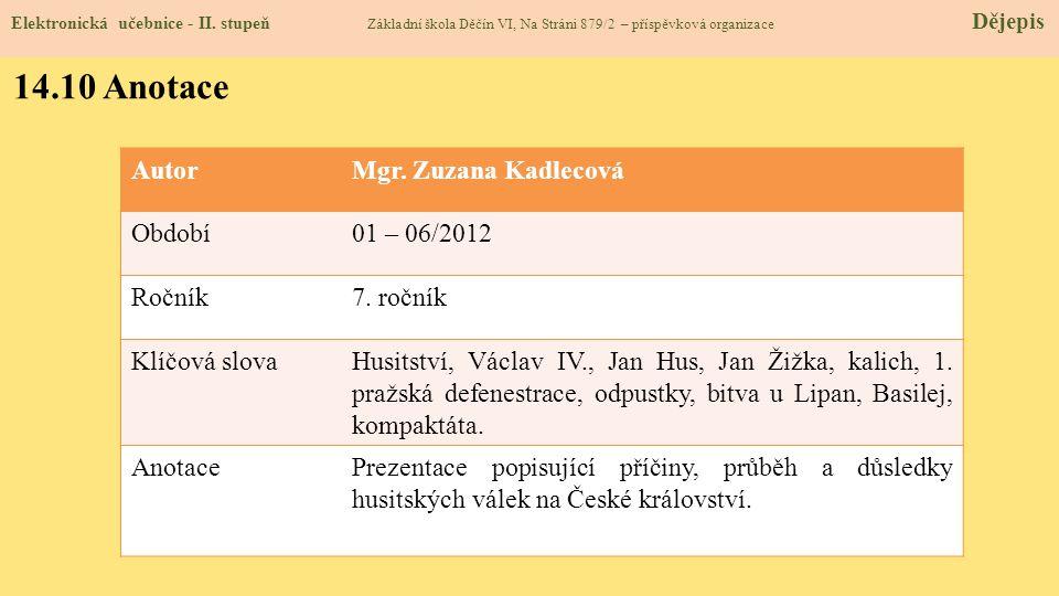 14.9 Použité zdroje, citace Elektronická učebnice - II.