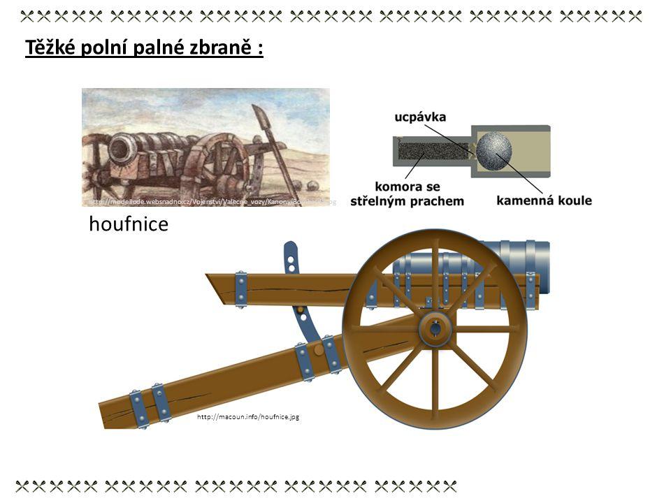Těžké polní palné zbraně : http://macoun.info/houfnice.jpg houfnice http://modellode.websnadno.cz/Vojenstvi/Valecne_vozy/Kanony/Bombarda.jpg